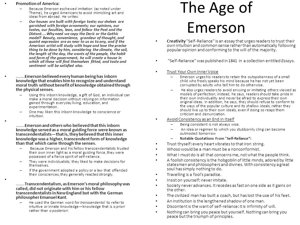 critical evaluation self reliance emerson Start studying transcendentalism learn vocabulary critical what is thoreau's as a joint stock company in emerson's metaphor from self-reliance.