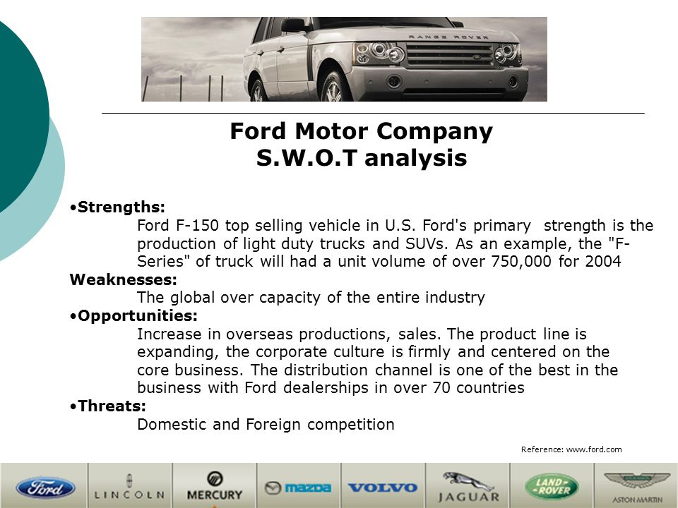 Automobile manufacturing industry competitors overview Ford motor company financials