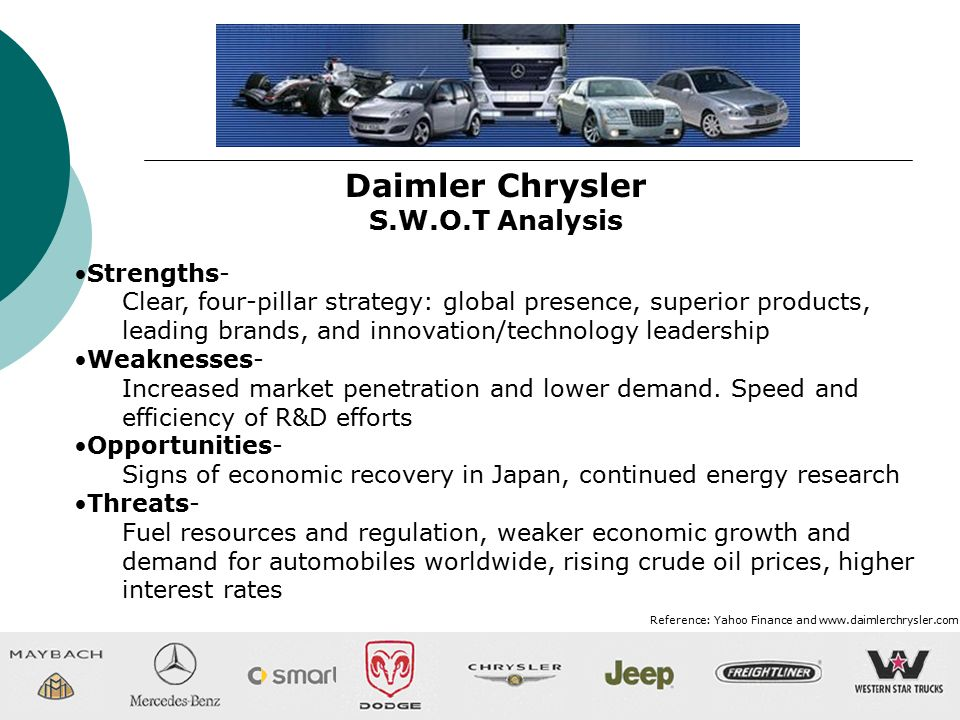 an analysis of daimlerchrysler Strategies - daimler-benz and chrysler daimler-benz and the chrysler could not meet the goal of becoming a global analysis of the daimler-chrysler merger.