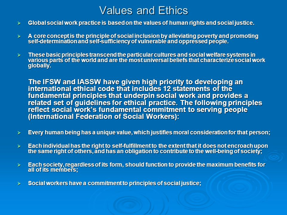 value and ethics in global setting Working together putting ethics to work  settinganexample  values and competencies describe the personal and behavioural.