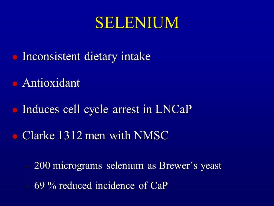 SELENIUM Inconsistent dietary intake Antioxidant
