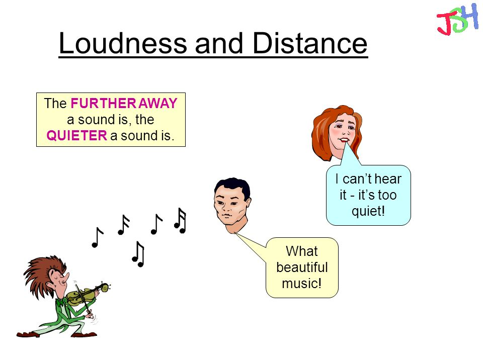 Loudness and Distance The FURTHER AWAY a sound is, the QUIETER a sound is. I can't hear it - it's too quiet!