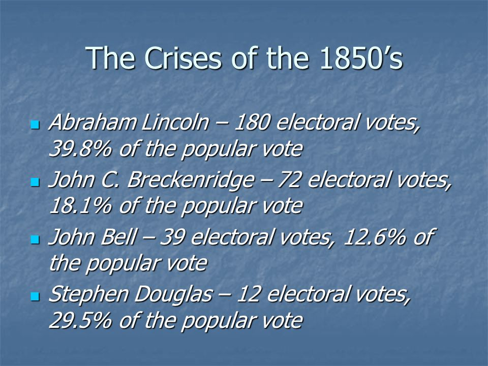 The Crises of the 1850's Abraham Lincoln – 180 electoral votes, 39.8% of the popular vote.
