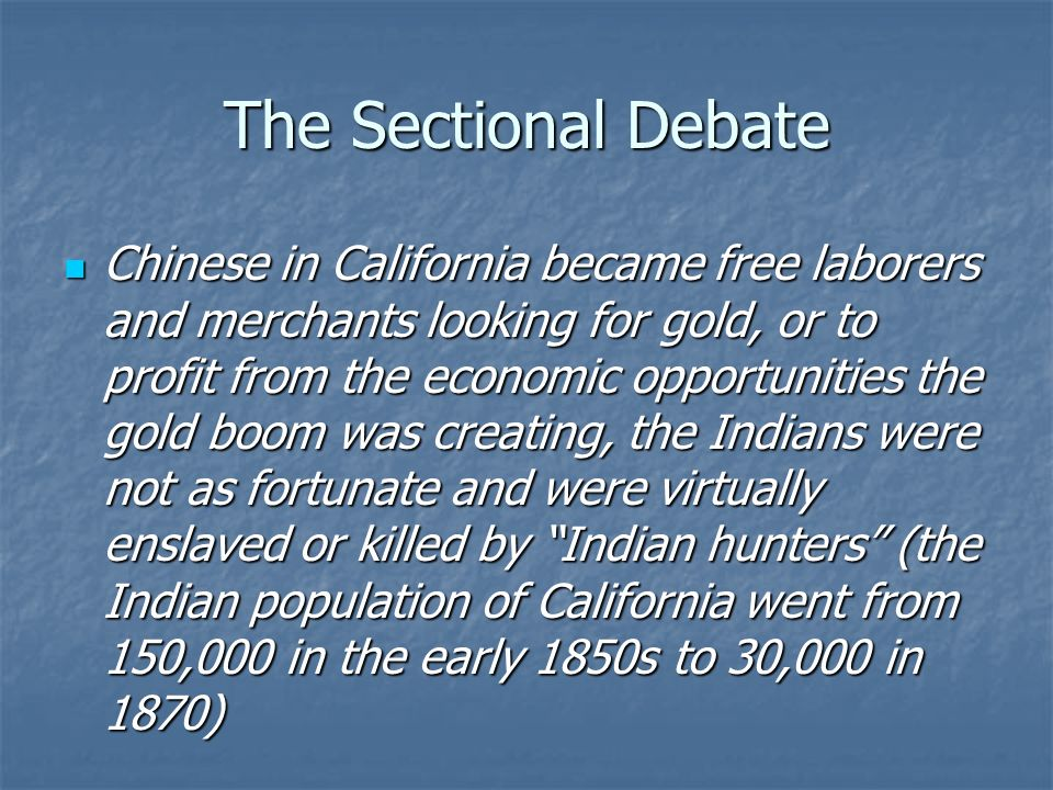 The Sectional Debate