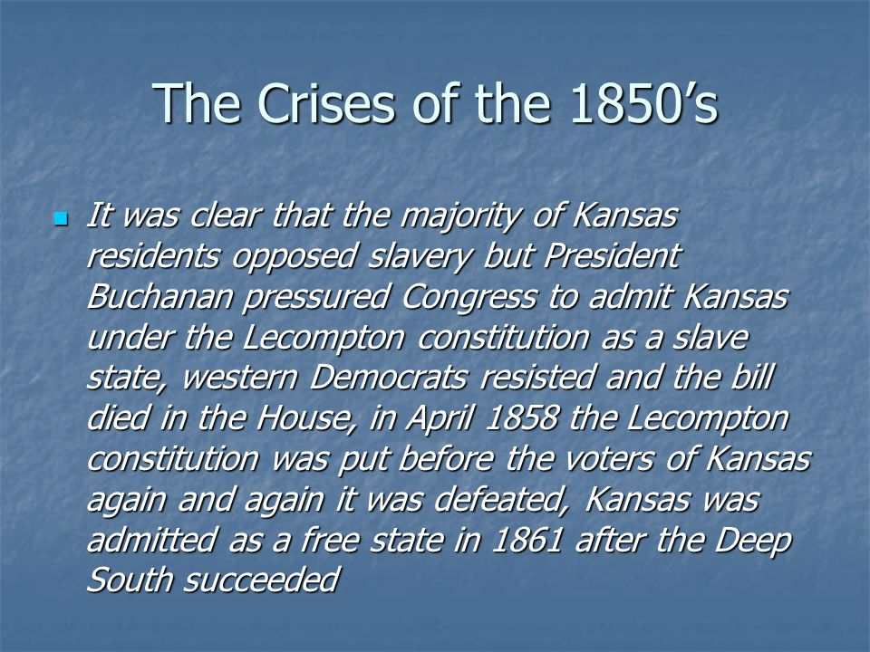 The Crises of the 1850's