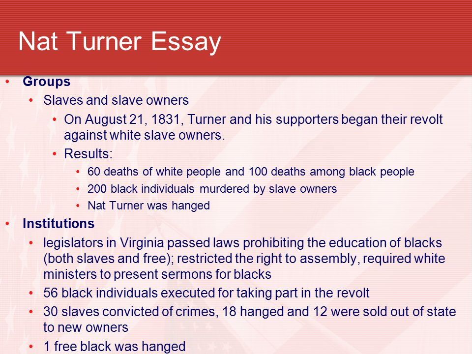 Nat turner essay