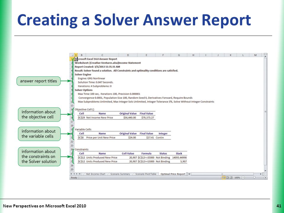 how to create sensitivity and answer report