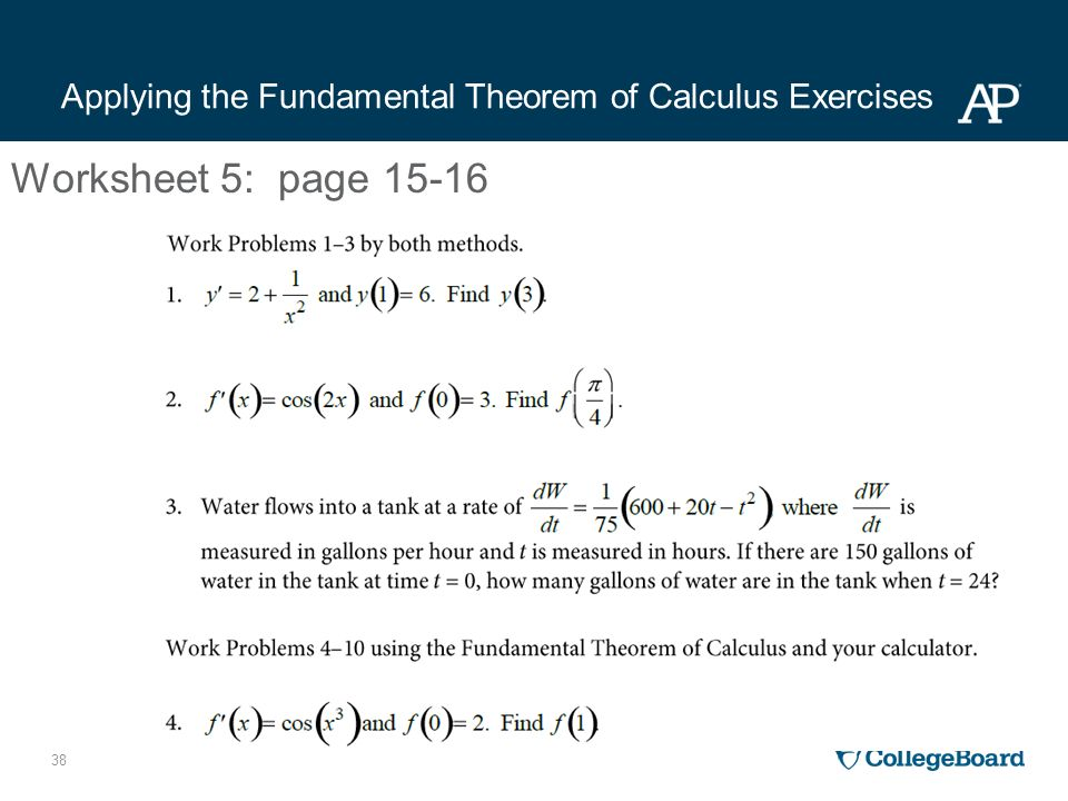Calculus AB APSI 2015 Day 3 Professional Development Workshop – Fundamental Theorem of Calculus Worksheet