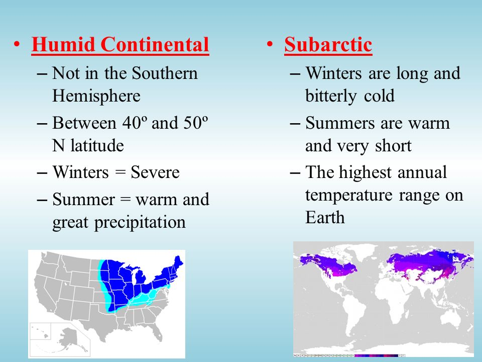 Humid Continental Subarctic Not in the Southern Hemisphere