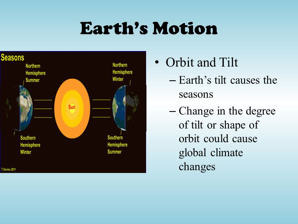 Earth's Motion Orbit and Tilt Earth's tilt causes the seasons
