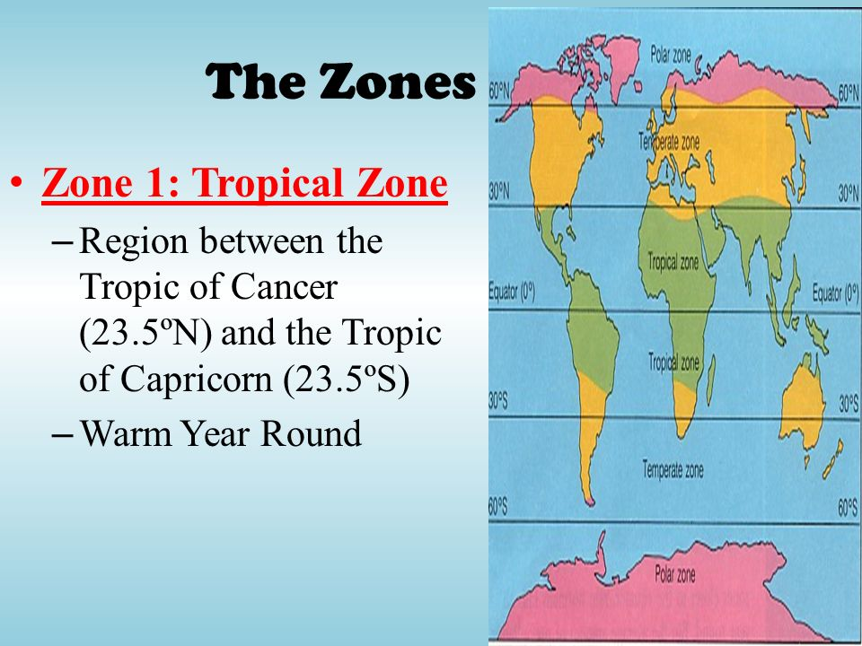 The Zones Zone 1: Tropical Zone