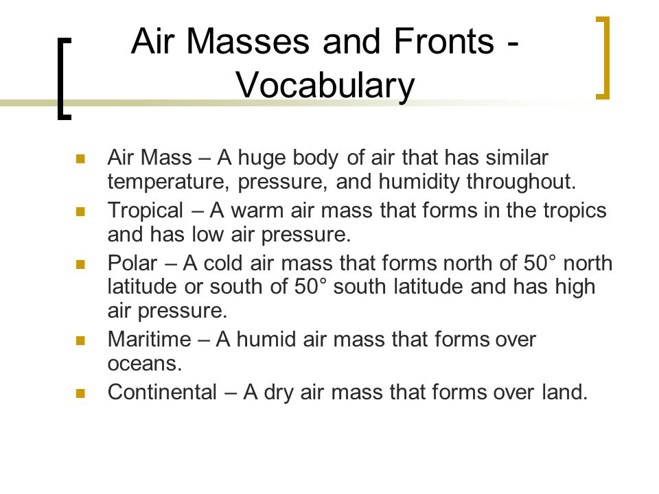 Air Masses and Fronts - Vocabulary
