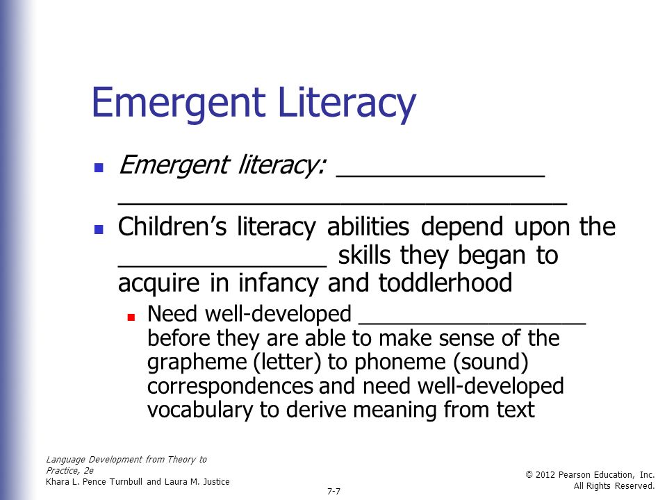 emergent literacy skills Effective practices for developing the literacy skills of english language learners in the english language arts classroom sultan turkan, jerome bicknell, and andrew croft.