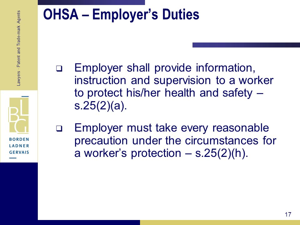 OHSA – Employer's Duties