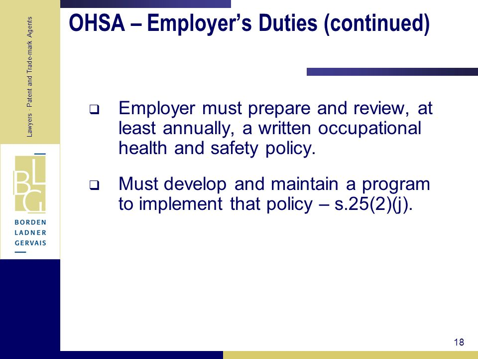 OHSA – Employer's Duties (continued)