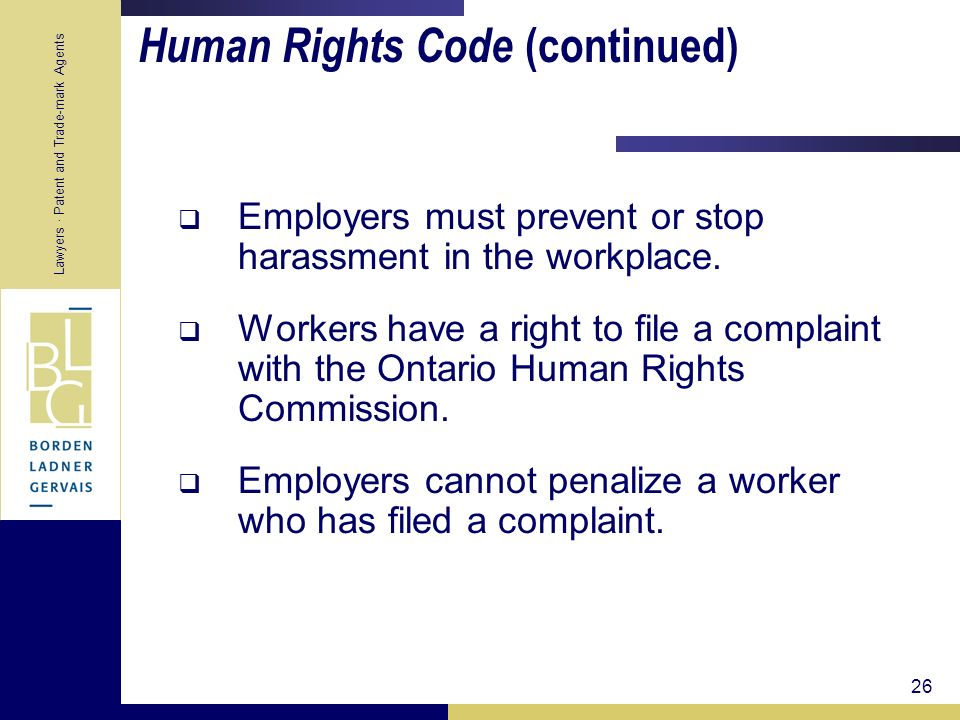 Human Rights Code (continued)