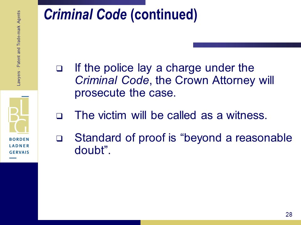 Criminal Code (continued)