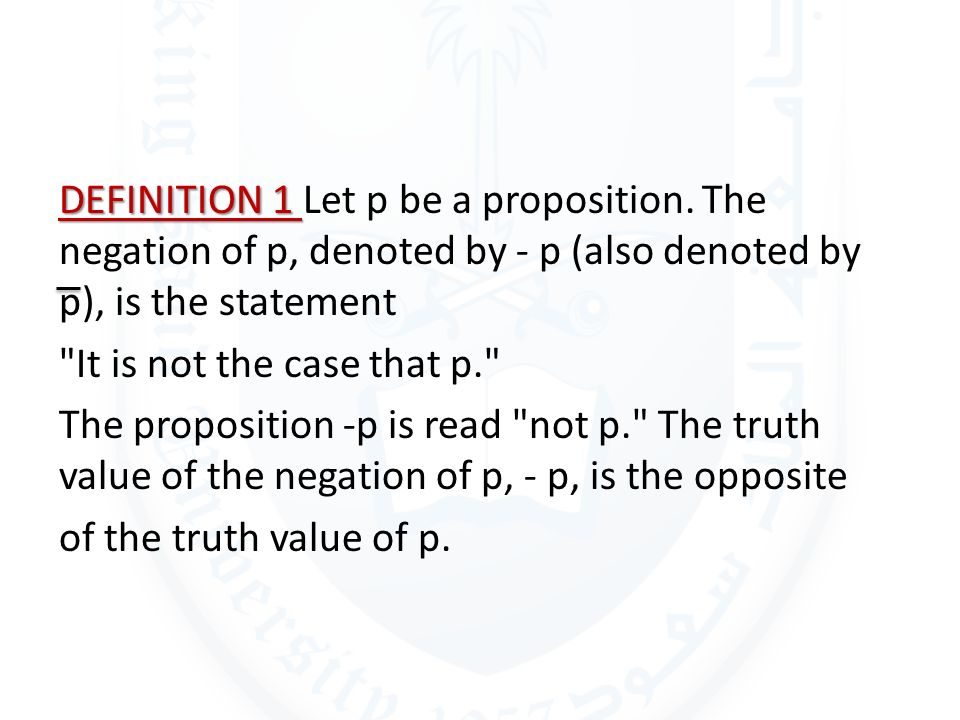 DEFINITION 1 Let p be a proposition