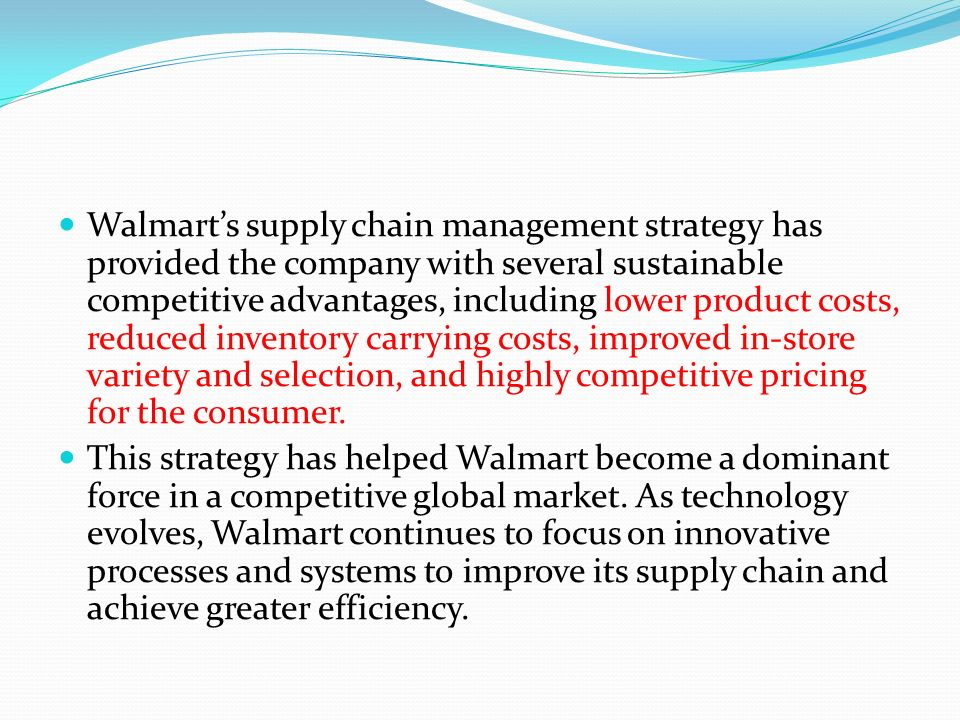 Strategic logistics management at walmart | Term paper