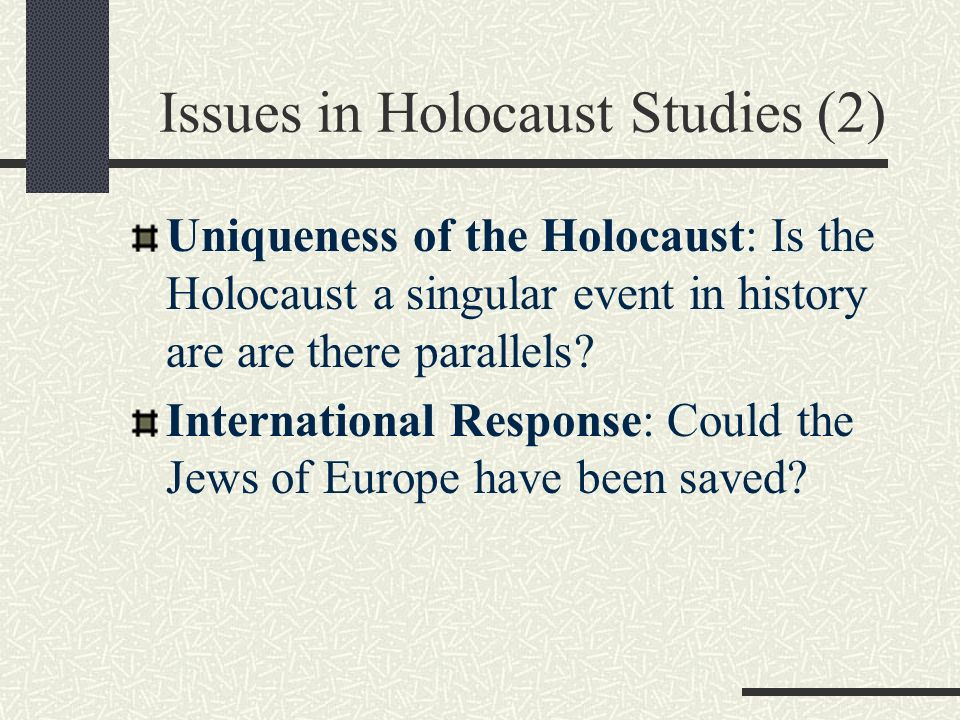 """is the holocaust unique The holocaust (also called the shoah, a hebrew word meaning """"devastation"""" or """" sudden destruction"""") was the state-sponsored,  why is the holocaust unique."""