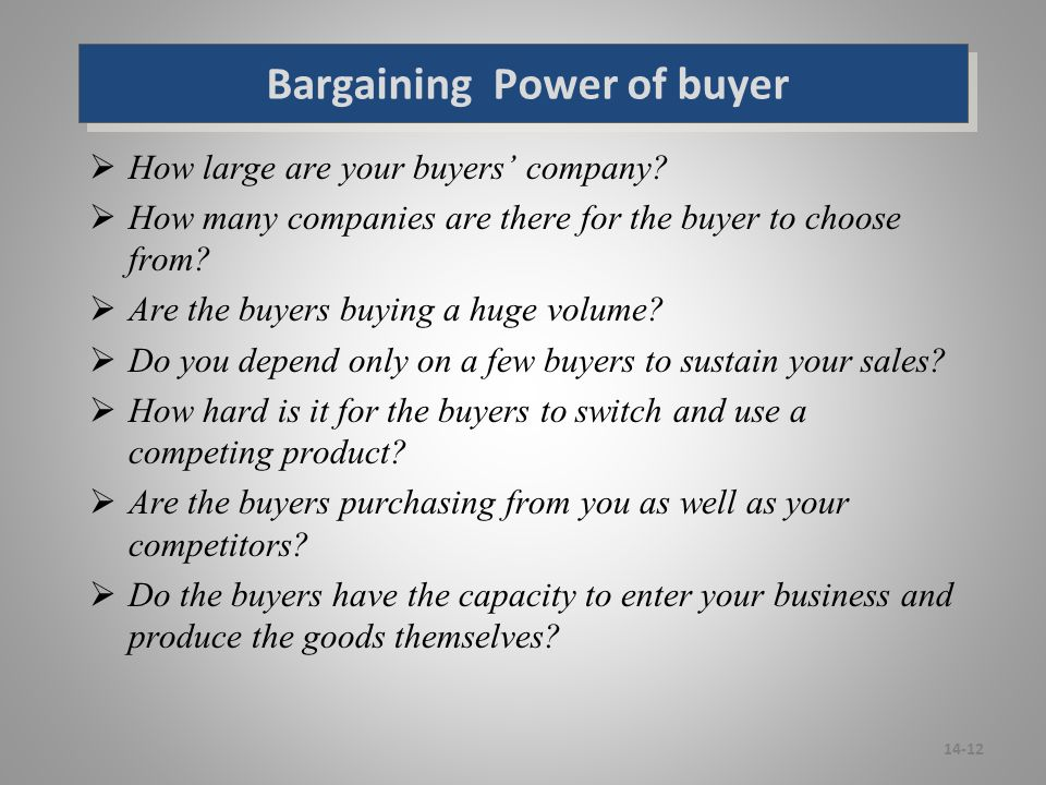 bargaining power of buyers in hotel industry The bargaining power of buyers is an  all of these factors end up decreasing the attractiveness of the industry by  another bargaining chip for a buyer.