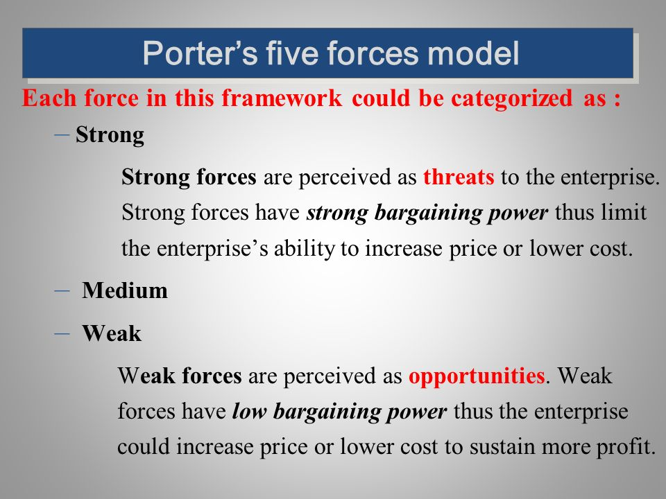porte's model of the five forces Michael porter designed various vital frameworks for developing an organizations strategy one of the most renowned among managers making strategic decisions is the.