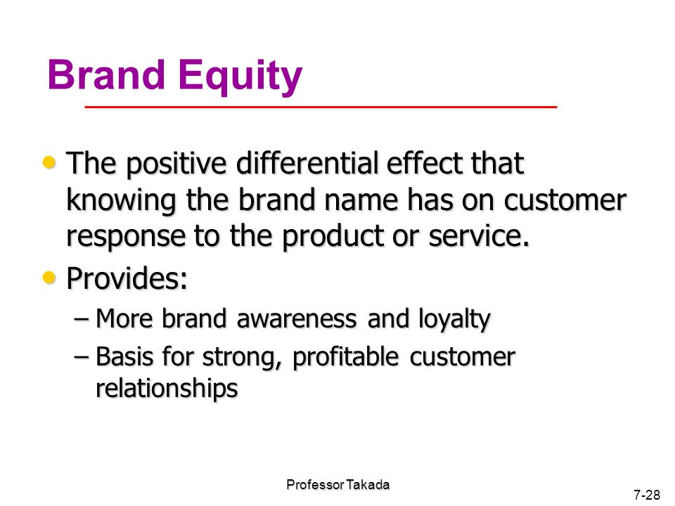 Product and service strategy and brand