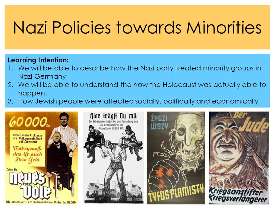 minority groups nazi germany Minority groups that were considered criminal, anti-social or otherwise undesirable were persecuted minority groups which did not conflict with the nazi's vision were not share to:.