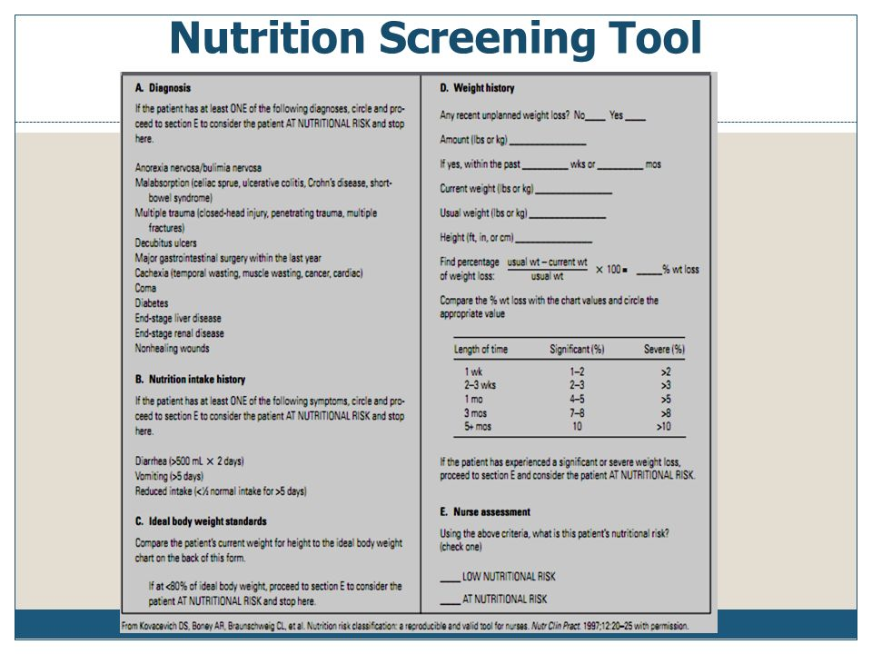 nutrition assessment The sga is a proven nutritional assessment tool that has found to be highly predictive of nutrition-related complications in acute, rehab, community, and residential aged care settings nutrition assessment parameters include a medical history (weight, intake, gi symptoms, functional capacity) and physical examination.