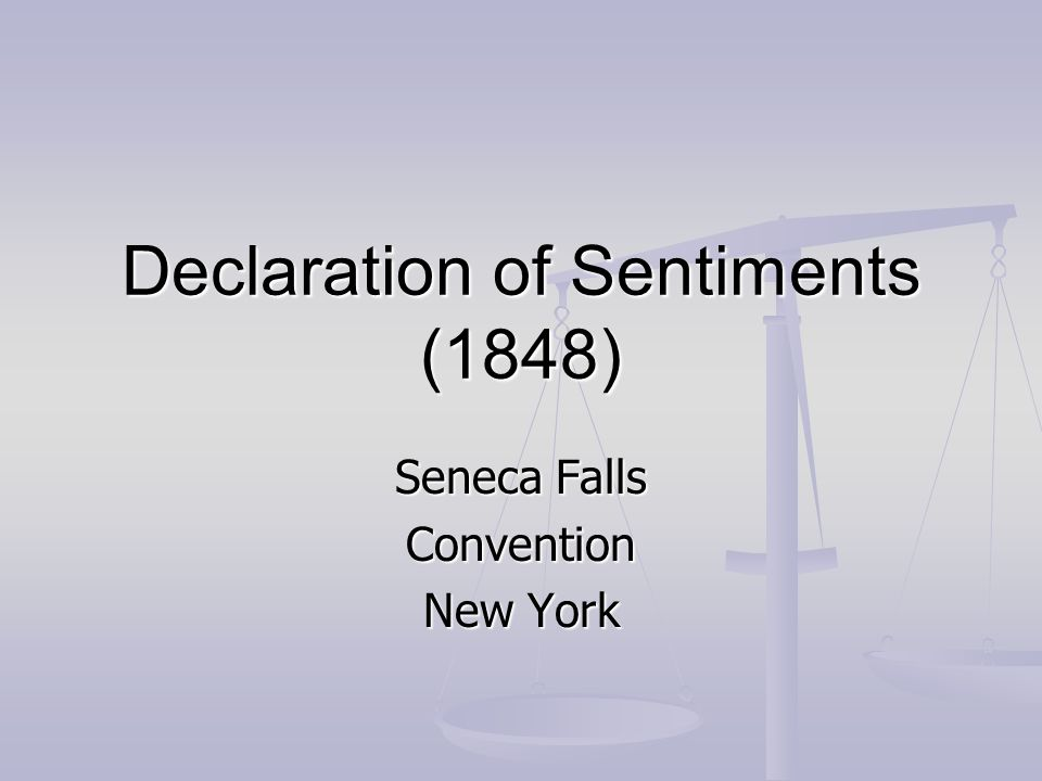 Declaration of Sentiments (1848)