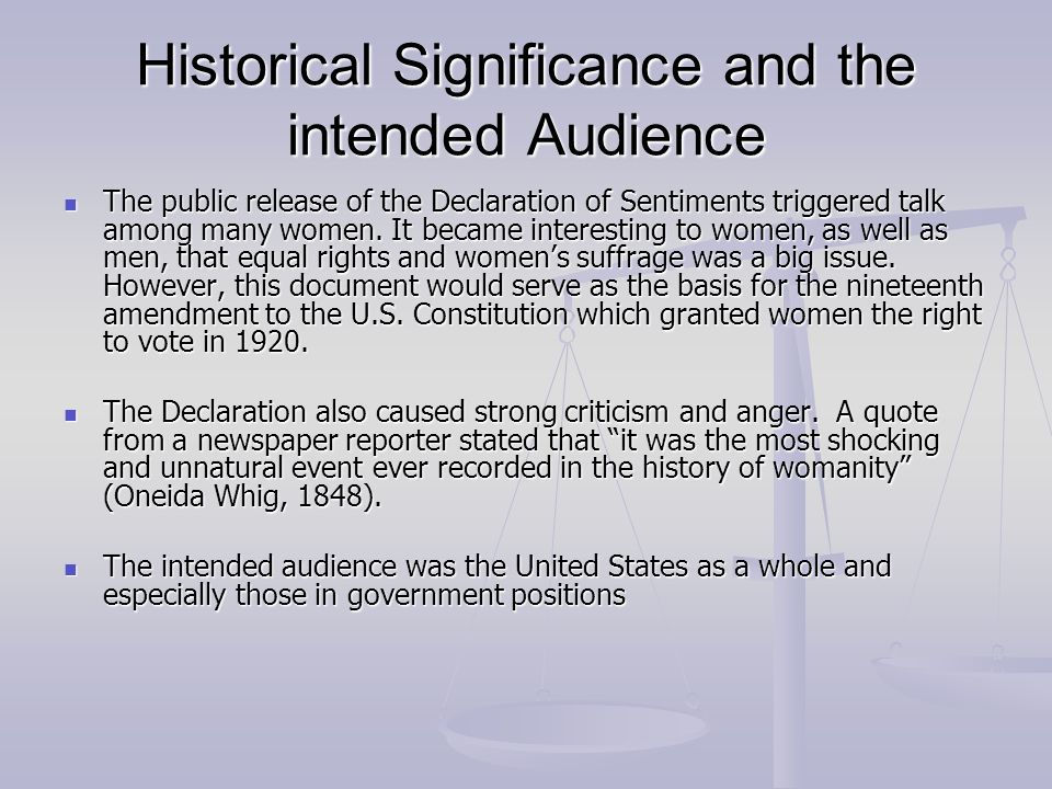 Historical Significance and the intended Audience