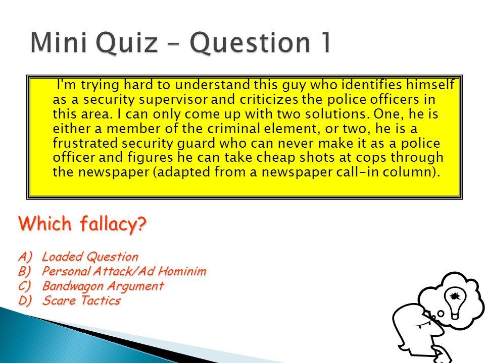 Critical thinking arguments quiz