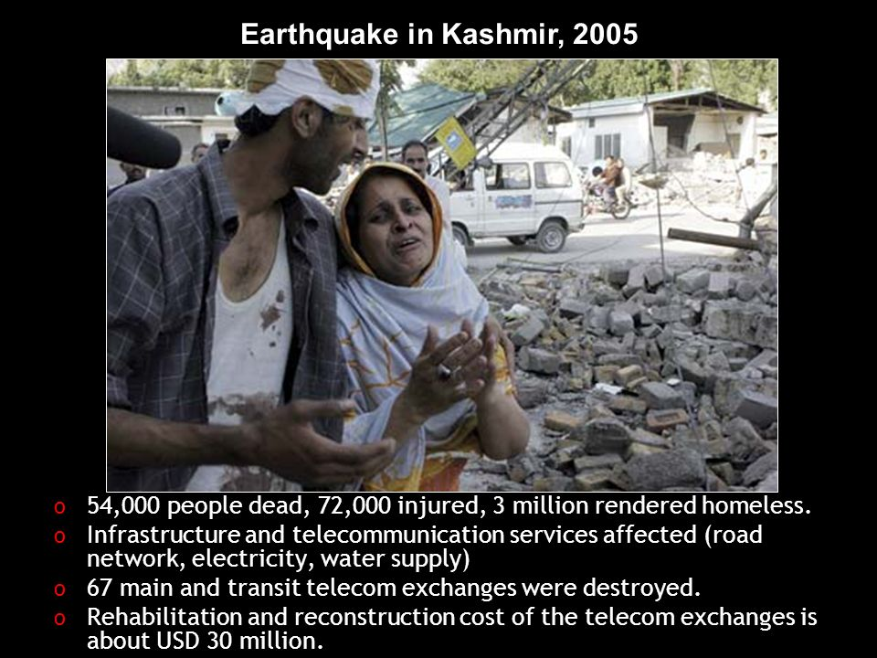 Earthquake in Kashmir, ,000 people dead, 72,000 injured, 3 million rendered homeless.