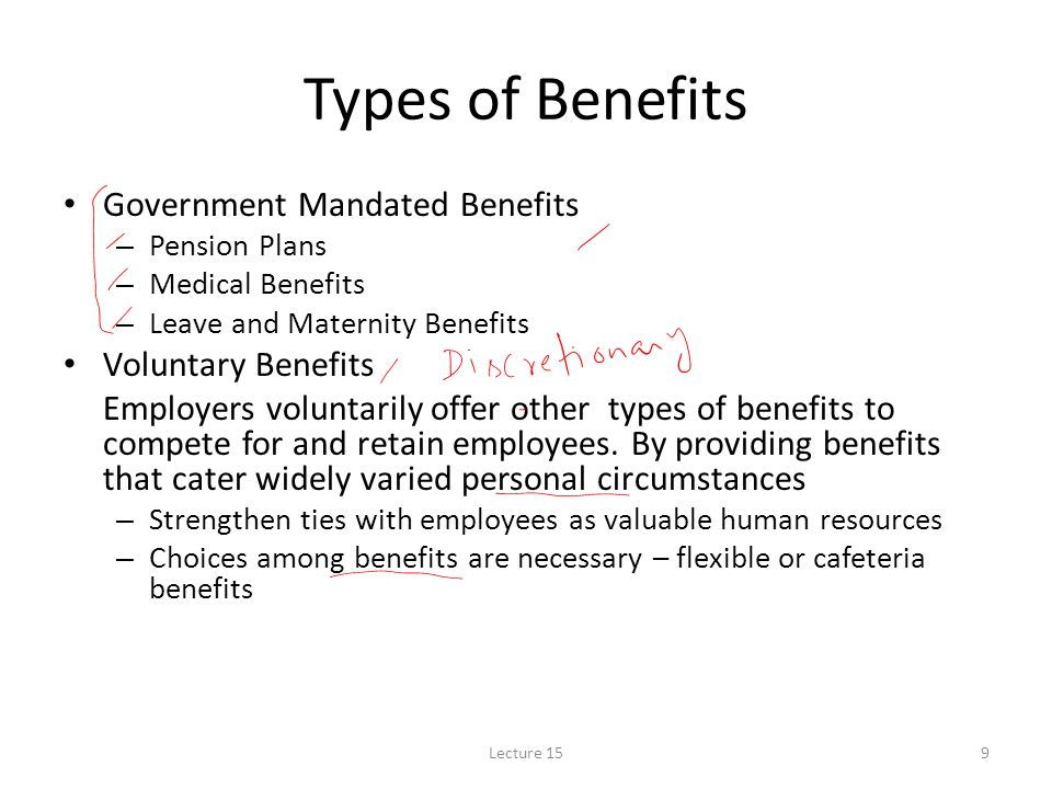 government mandated benefits Government mandated benefits (statutory benefits) statutory benefits are available to all employees regardless of employment status or length of employment in addition to the new york state.