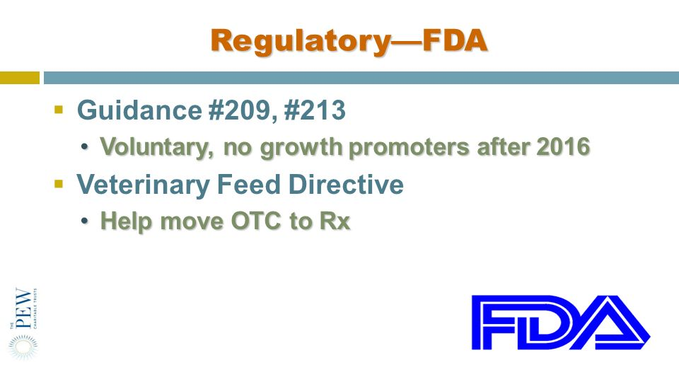 Regulatory—FDA Guidance #209, #213 Veterinary Feed Directive