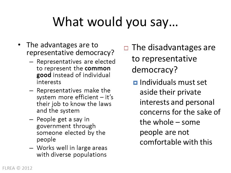 advantages and disadvantages of representative democracy Democracy is a type of political system that requires a popular vote (representative election) to take place to elect the leader of the country and other officials.