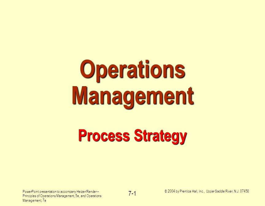Operations Management Process Strategy