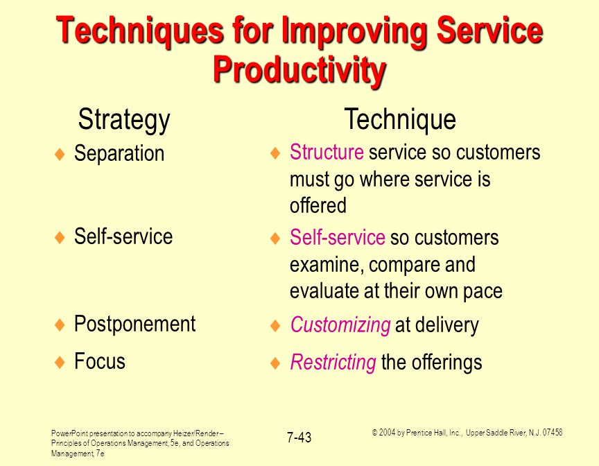Techniques for Improving Service Productivity