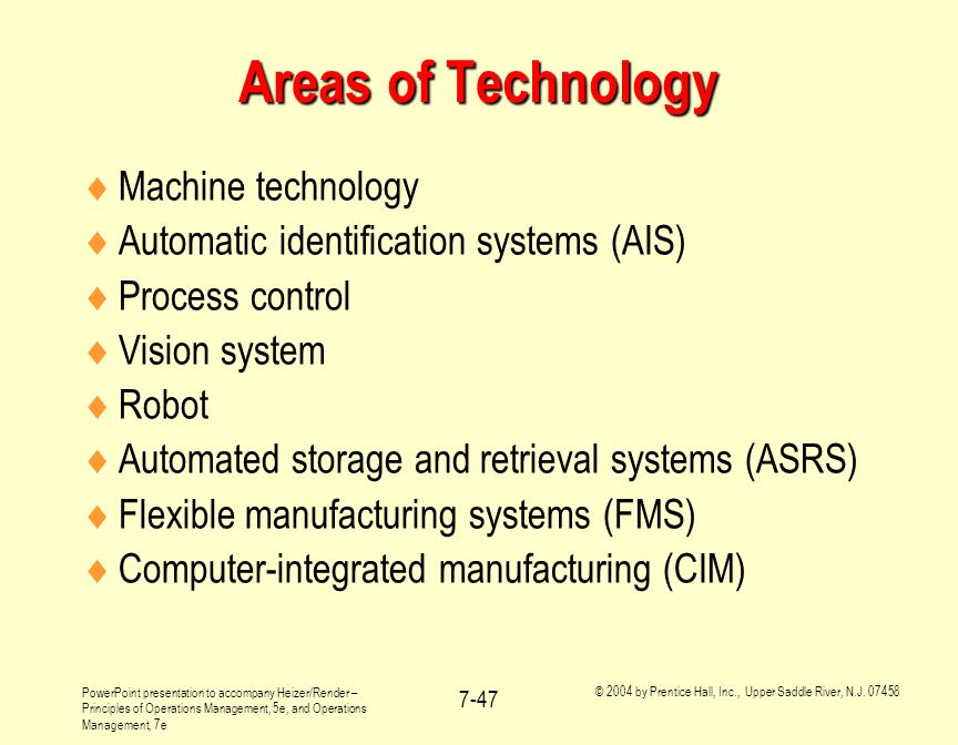Areas of Technology Machine technology