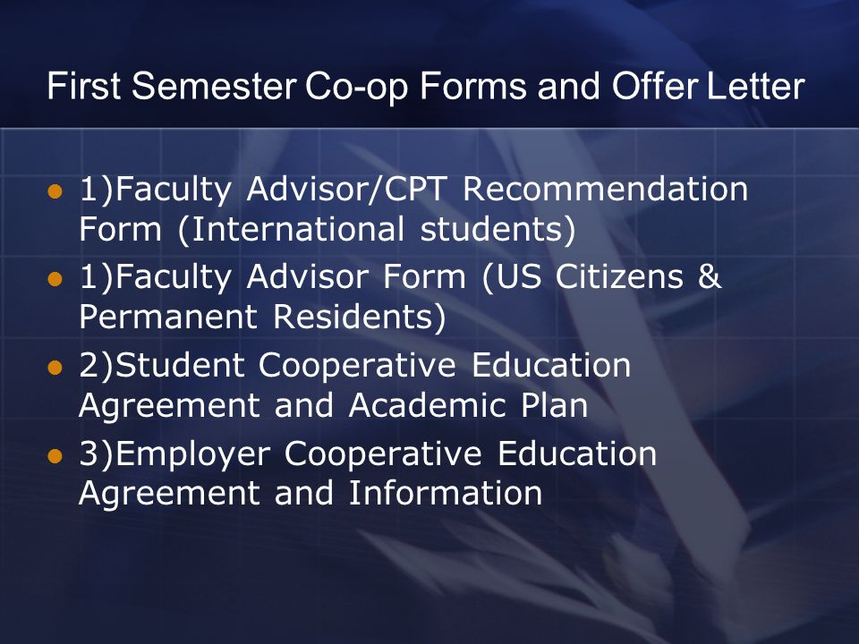 Introduction to co ops internships ppt video online download first semester co op forms and offer letter platinumwayz