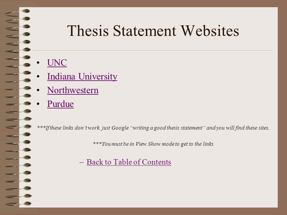 Website thesis statement