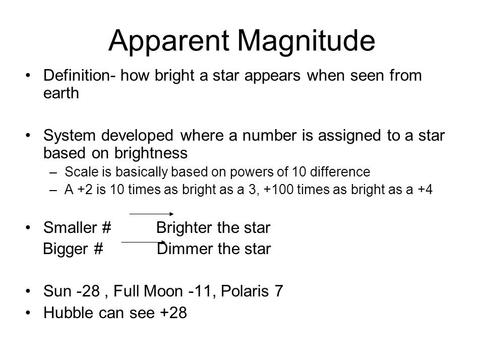 Apparent Magnitude Definition- how bright a star appears when seen from earth.