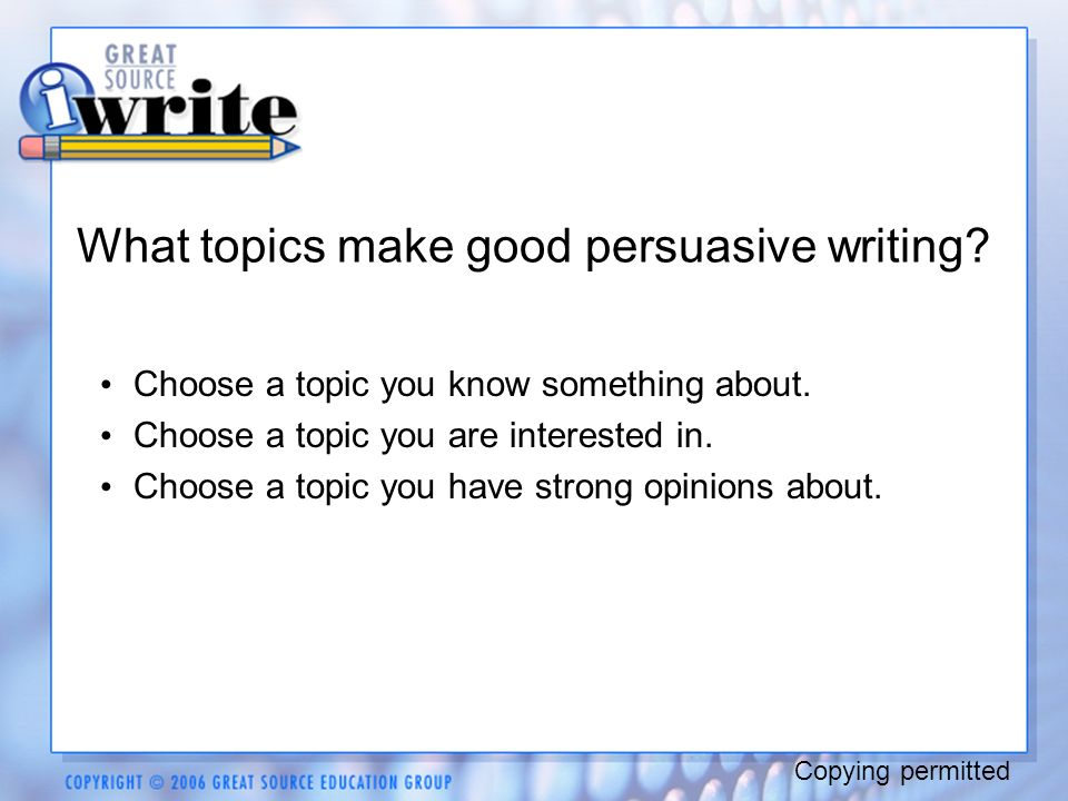 interesting persuasive essay topics 101 persuasive essay and speech topics by: mr morton whether you are a student in need of a persuasive essay topic, or a teacher looking to assign a persuasive essay, this list of 101 persuasive essay topics is a great resource.