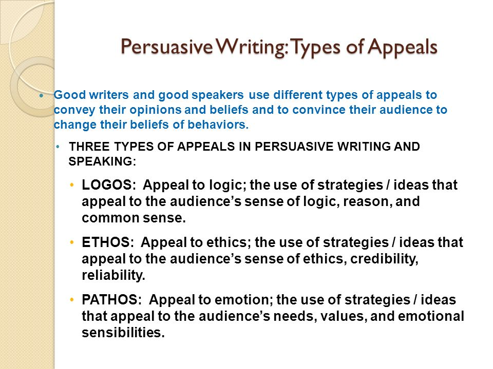 Persuasive Writing: Types of Appeals