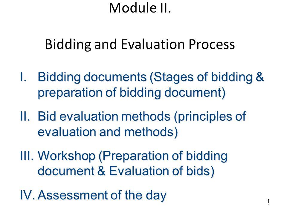 Module II  Bidding and Evaluation Process