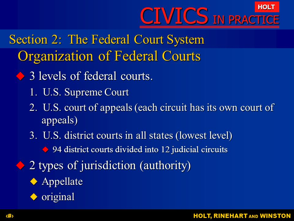 Organization of Federal Courts