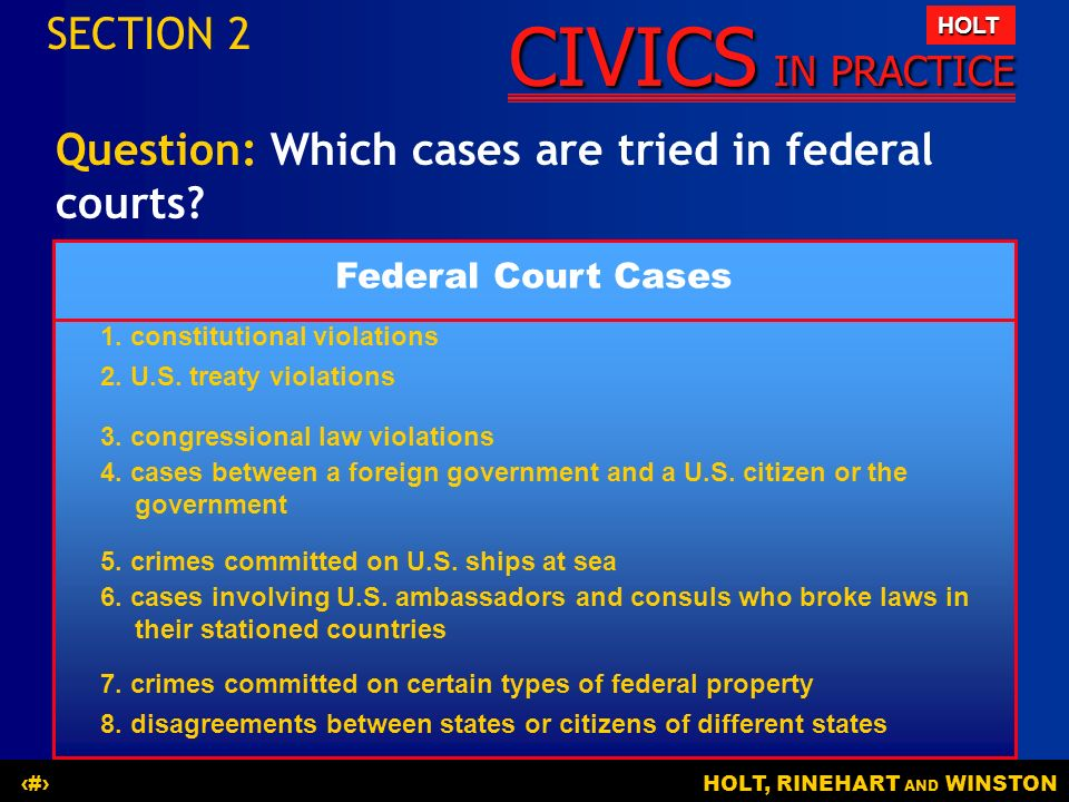 Question: Which cases are tried in federal courts