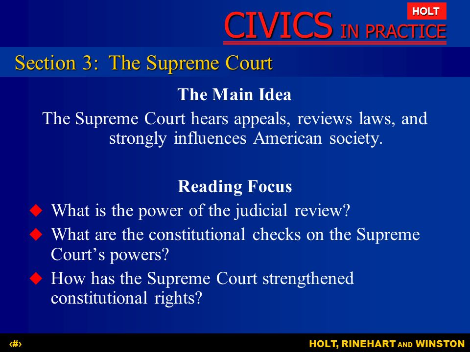 Section 3: The Supreme Court