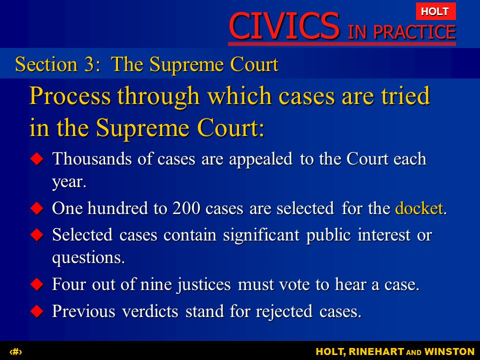 Process through which cases are tried in the Supreme Court: