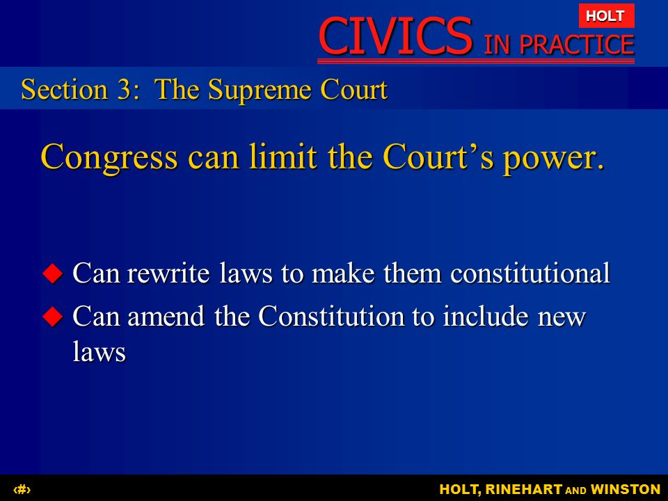 Congress can limit the Court's power.